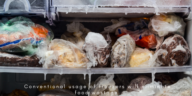 Conventional usage of freezers will eliminate food wastage